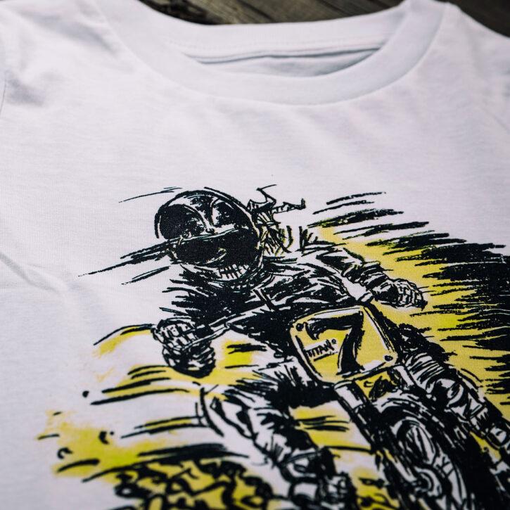 Kindermode Bioshirts vegan Qualitaet fairtrade motorrad biker motive illustration handzeichnung graz oesterreich support local regional caferacershop online lieferung Kids T-shirts