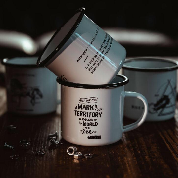 TITAN-Emaille-Becher-Tasse-Motorrad-Abenteuer-Outdoor-Küche-Haushalt-Kaffee-Camping-Geschenk-Caferacer-Enamel-Mug-4er-Set-No1