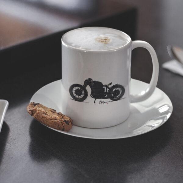 Coole Motorrad Geschenktasse Vektor Illustration Motorradfahrer Motorradtasse Häferl Tee Motiv Becher Porzellan Weiß Mug TITAN Caferacer Tasse Webshop