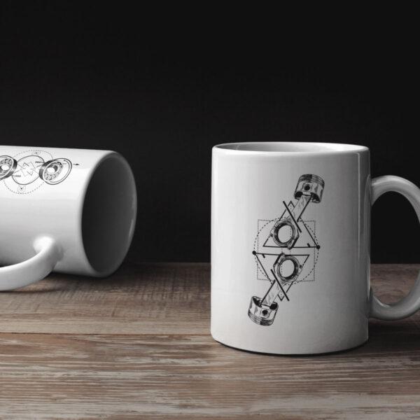 Geschenktassen Set Motorradfahrer Motorradtasse Häferl Tee Motiv Becher Porzellan Weiß Mug TITAN Caferacer Tasse Webshop