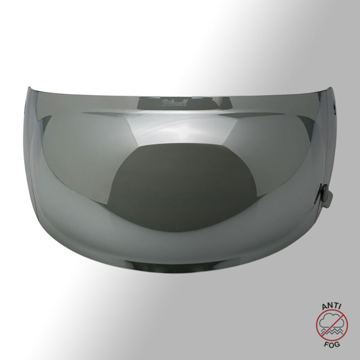 "BILTWELL Gringo S ""Matt schwarz"" Chrome Bubble Shield TITAN with Charcoal Metallic Stripes - ECE & DOT"