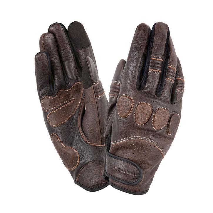 ucano Urbano Motorrad Handschuhe Caferacer Style Retro Gig Pro braun schwarz Motorcycle Gloves