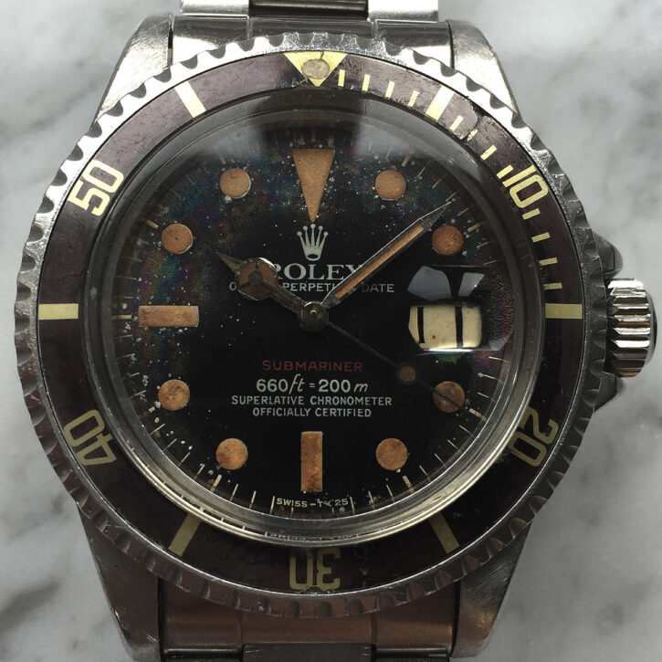 caferacer-webshop-custombike-tropical-rolex-submariner-1680-red-automatic-vintage-diver-brown-bezel-buy-vintage-watch-lifestyle